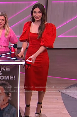 Lily Aldridge's red puff sleeve midi dress on The Kelly Clarkson Show