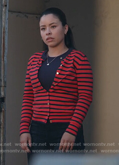 Mariana's red striped cardigan on Good Trouble
