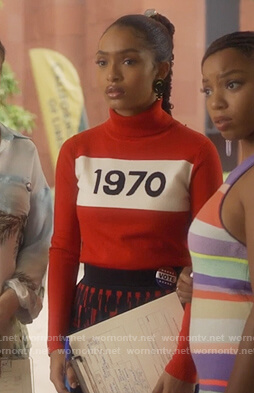 Zoey's red 1970 turtleneck sweater on Grown-ish