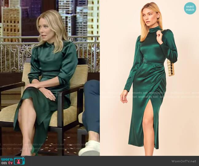 Carmelina Midi Dress by Reformation worn by Kelly Ripa  on Live with Kelly & Ryan