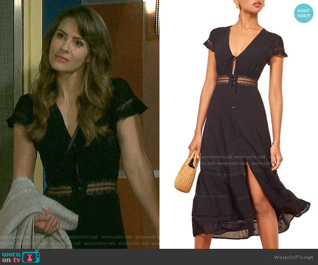 Reformation Garland Lace Trim Midi Dress worn by Sarah Horton (Linsey Godfrey) on Days of our Lives