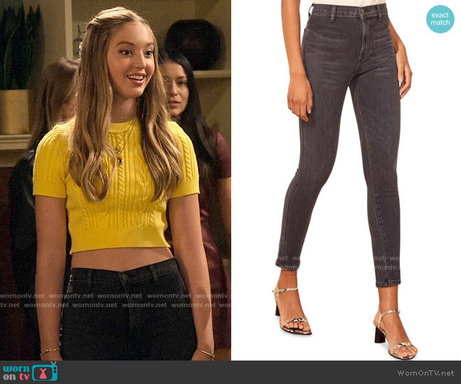 Reformation May High & Skinny Jeans worn by Brooke Bishop (Bella Podaras) on The Expanding Universe of Ashley Garcia