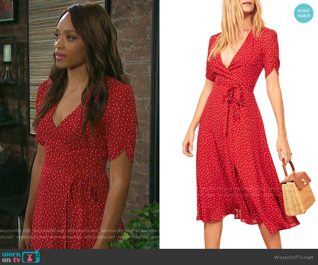 Reformation Napa Dress in Ditty worn by Lani Price (Sal Stowers) on Days of our Lives