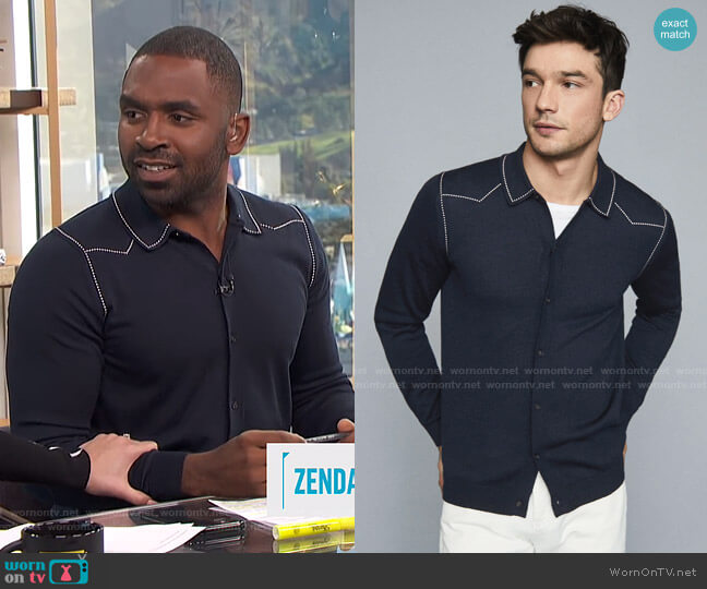 Wayne Top by Reiss worn by Justin Sylvester  on E! News