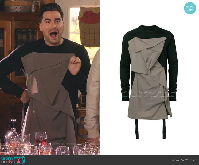 Detachable Panel Sweatshirt by Rick Owens worn by David Rose (Daniel Levy) on Schitts Creek