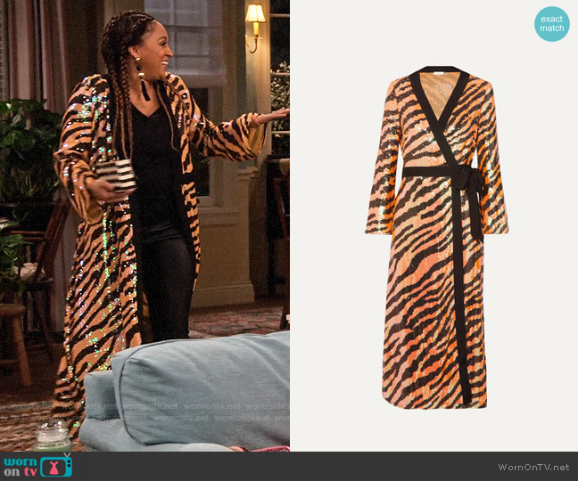 Rixo Gigi tiger-print sequined chiffon wrap dress worn by Cocoa McKellan (Tia Mowry-Hardrict) on Family Reunion