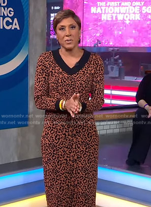 Robin's brown leopard print sweater and skirt on Good Morning America