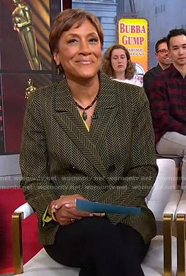 Robin's green herringbone blazer on Good Morning America