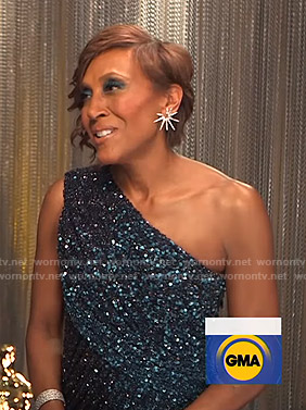 Robin's sequin one-shoulder gown at Backstage with the Big Winners on Good Morning America