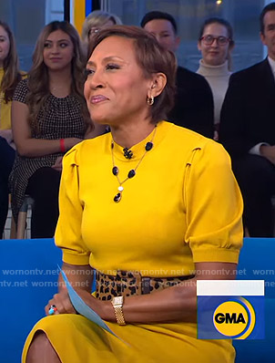 Robin's yellow short sleeve sweater on Good Morning America
