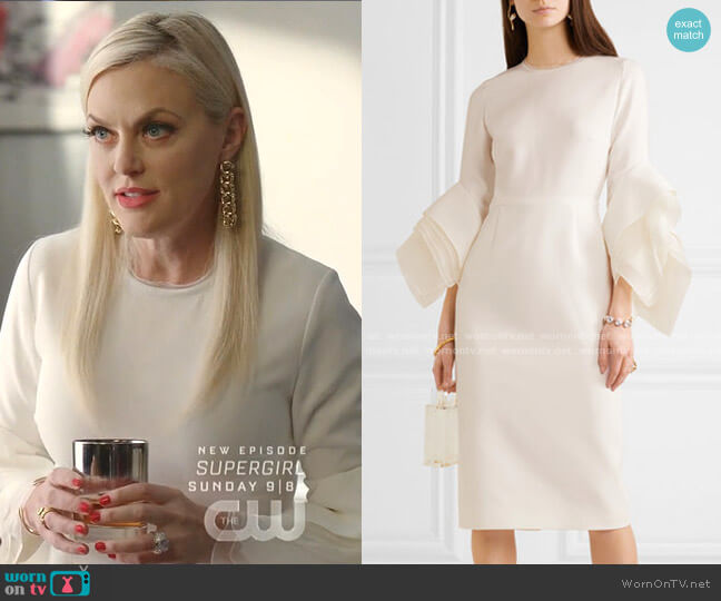 Tulle-Trimmed Crepe Midi Dress by Roksanda worn by Alexis Carrington (Elaine Hendrix) on Dynasty