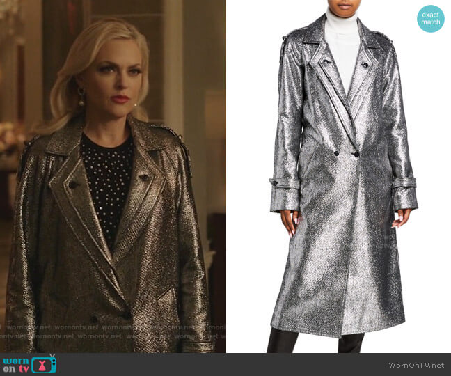Andi Metallic Tweed Long Coat by RtA worn by Alexis Carrington (Elaine Hendrix) on Dynasty