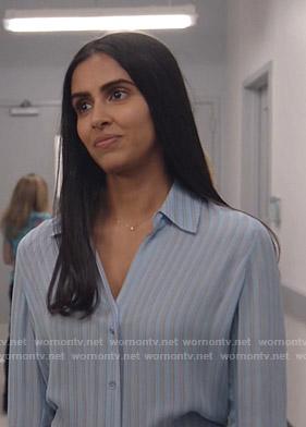 Saanvi's blue striped blouse on Manifest