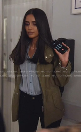Saanvi's green zip-sleeve utility jacket on Manifest