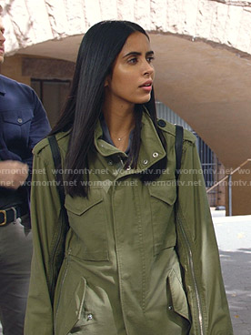 Saanvi's green zip-sleeve utility jacket on Manifest