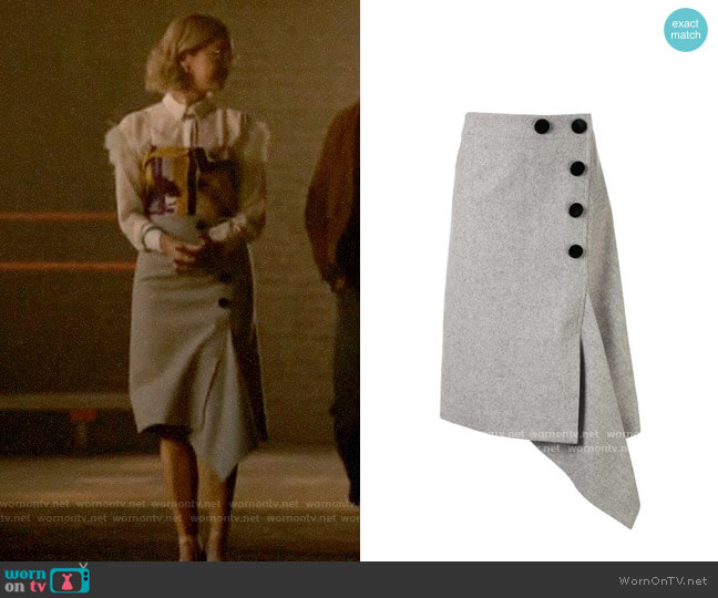 Sacai Button Up Asymmetric Skirt worn by Pepper Smith (Julia Chan) on Katy Keene