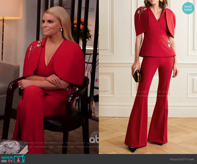 Orion Top and Halluana Pants by Safiyaa worn by Jessica Simpson on GMA