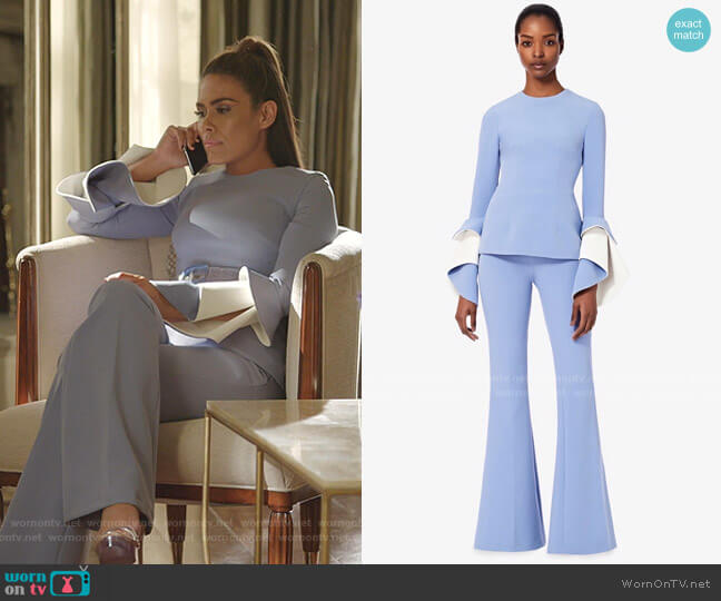 Meili Top and Halluana Blue Ash Trousers by Safiyaa worn by Cristal Jennings (Daniella Alonso) on Dynasty