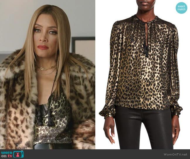 Leopard-Print Long-Sleeve V-Neck Blouse by Saint Laurent worn by Dominique Deveraux (Michael Michele) on Dynasty