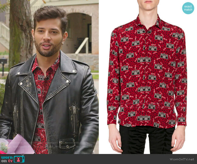 Radio-Print Long-Sleeve Silk Sport Shirt by Saint Laurent worn by Sam Flores (Rafael de la Fuente) on Dynasty