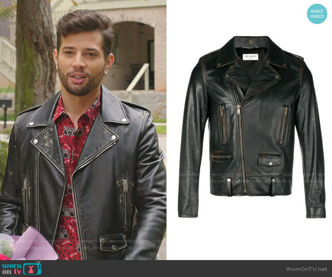 Biker Jacket by Saint Laurent worn by Sam Flores (Rafael de la Fuente) on Dynasty