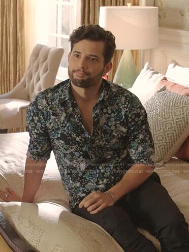 Sam's black floral shirt on Dynasty