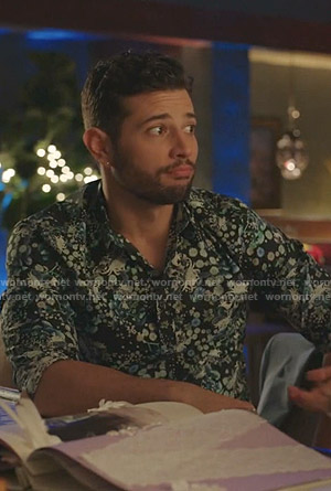 Sam's black floral shirt on Dynasty