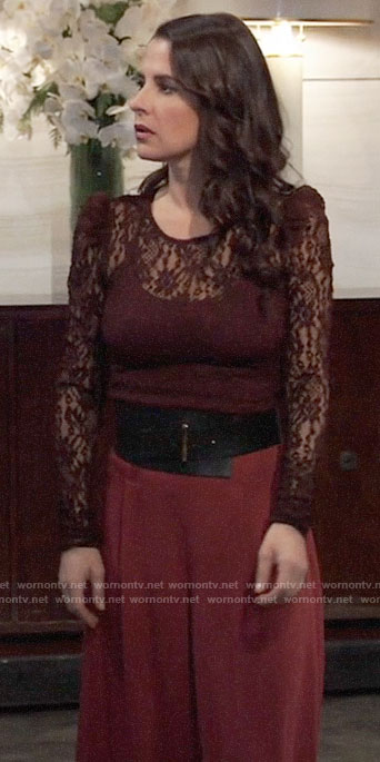 Sam's burgundy lace top on General Hospital