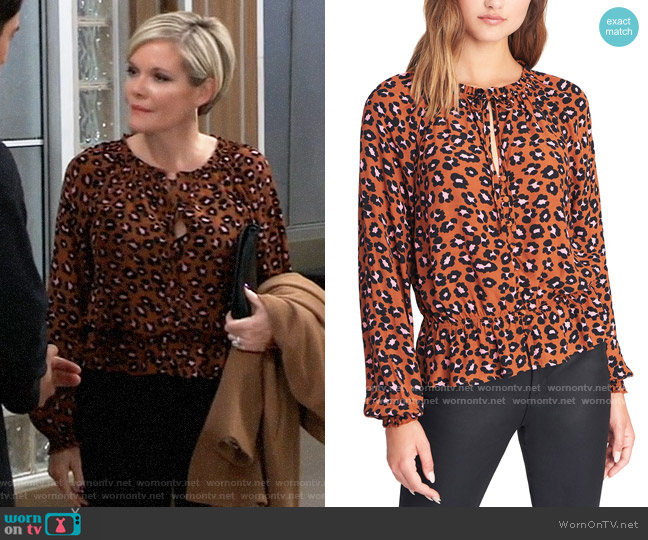 Sanctuary Quartz Leopard-Print Peasant Top worn by Ava Jerome (Maura West) on General Hospital