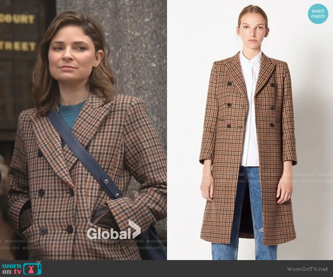 Checked Wool Coat by Sandro worn by Taylor Rentzel (MacKenzie Meehan) on Bull