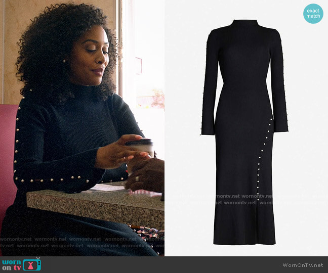 Sandro Faux pearl-embellished high-neck knitted midi dress worn by Lola Carmichael (Simone Missick) on All Rise