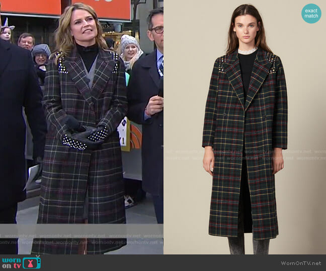Long Coat with Rhinestone Shoulders by Sandro worn by Savannah Guthrie  on Today