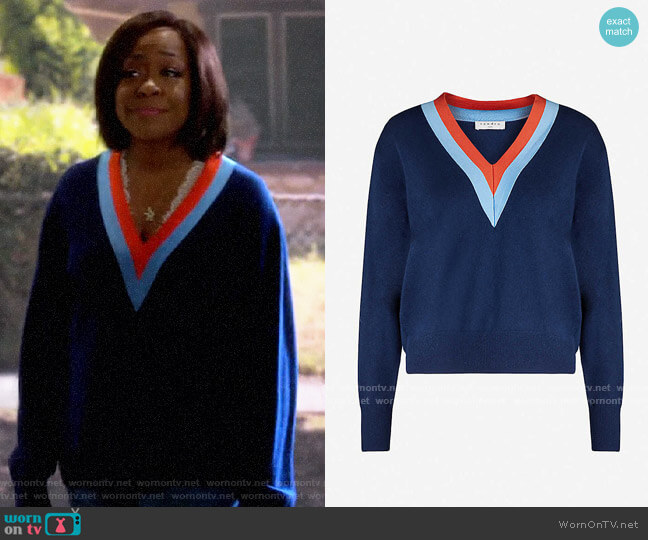 Sandro V-neck wool and cashmere-blend jumper worn by Tina (Tichina Arnold) on The Neighborhood