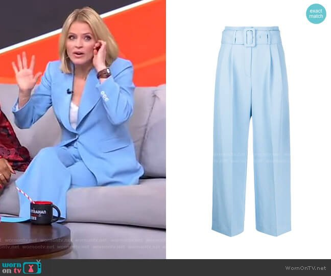 Belted Wide Leg Trousers by Sandro worn by Sara Haines  on Good Morning America