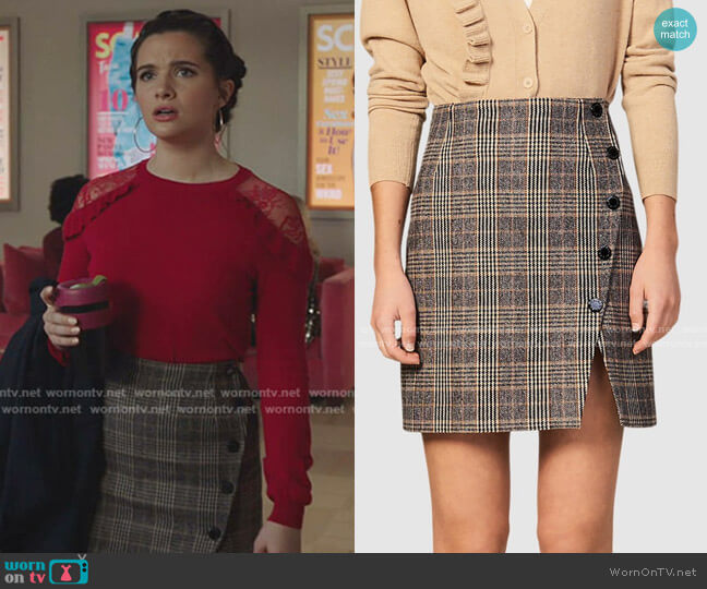 Nona Skirt by Sandro worn by Jane Sloan (Katie Stevens) on The Bold Type