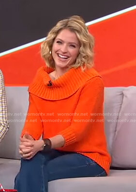 Sara's orange off-shoulder sweater on GMA Strahan Sara And Keke