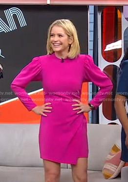 Sara's pink asymmetric hem dress on GMA Strahan Sara And Keke