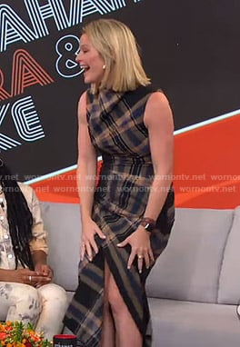 Sara's plaid asymmetric dress on GMA Strahan Sara and Keke