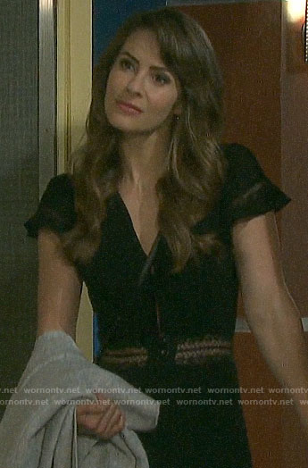 Sarah's black lace-inset dress on Days of our Lives