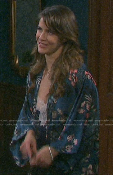 Sarah's teal floral robe on Days of our Lives