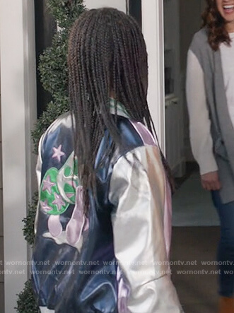Diane's metallic mushroom patch bomber jacket on Black-ish