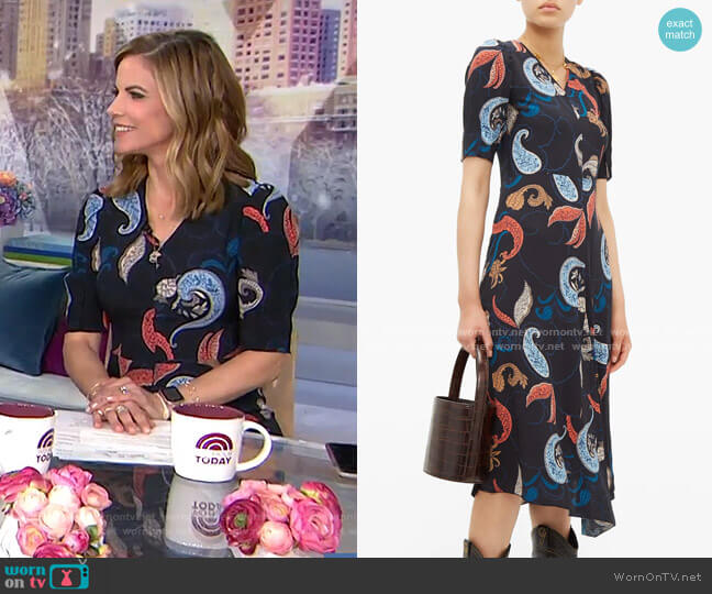 Paisley-Print Dipped-Hem Crepe Dress by See by Chloe worn by Natalie Morales  on Today