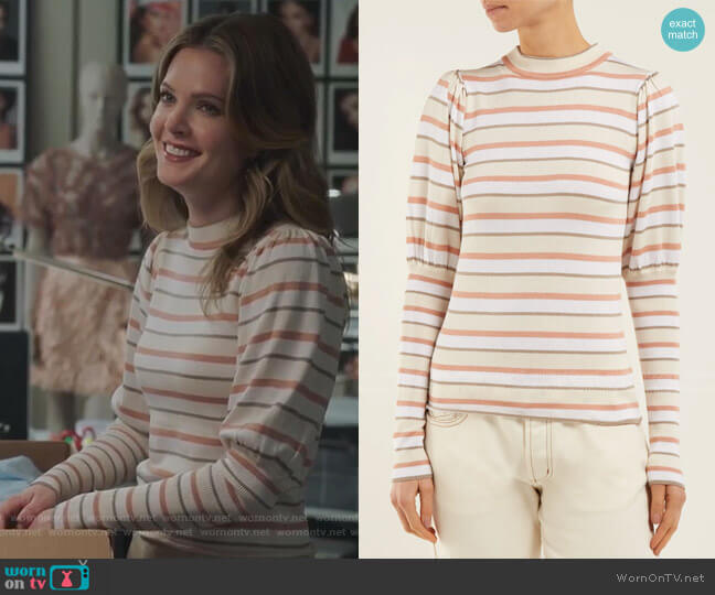 Striped Cotton-blend Sweater by See by Chloe worn by Sutton (Meghann Fahy) on The Bold Type