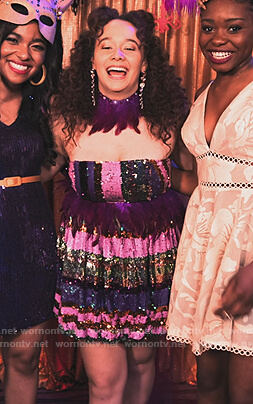 Jade's sequin stripe strapless dress on Family Reunion