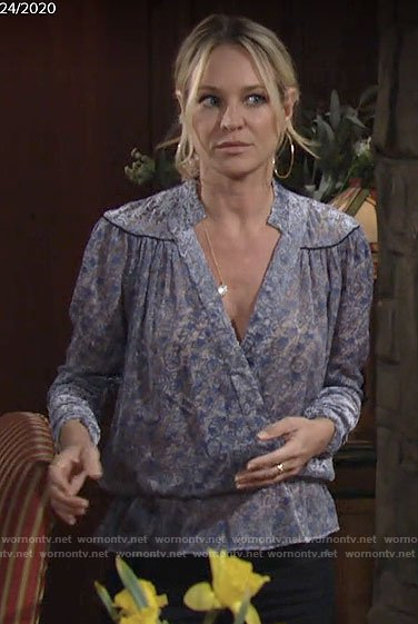 Sharon's blue printed wrap blouse on The Young and the Restless