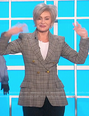 Sharon's double breasted check blazer on The Talk