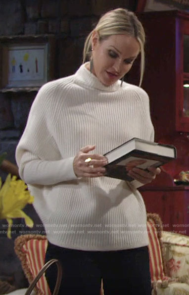 Sharon's cream high neck sweater on The Young and the Restless