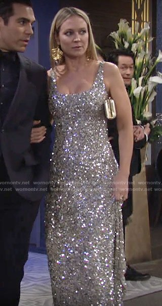 Sharon's sequined gown on The Young and the Restless