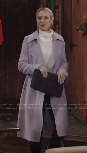 Sharon's lavender purple coat on The Young and the Restless