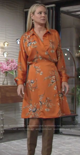 Sharon's orange floral wrap dress on The Young and the Restless